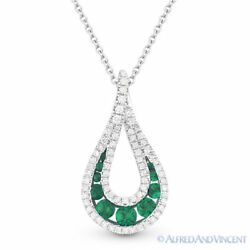 0.59 Ct Emerald And Diamond Pave Tear-drop 14k White Gold Pendant And Chain Necklace