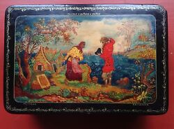 Antique Russian Handpainted Important Artist Gold Signed Palekh Box Fisherman
