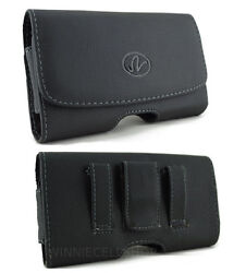 Leather Horizontal Belt Clip Case Pouch Holster Magnetic Closure for Cell Phones