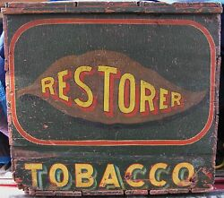 Antique Tobacco Wooden Country Store Advertising Box Tobacciana Phila. Can Ship
