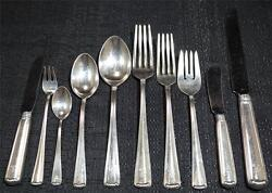 Sterling Silver R. Blackinton Flatware Set for 12 1939 Marie Louise 3149 Grams