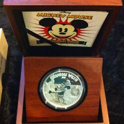 2014 2 Disney Steamboat Willie Mickey Mouse 1 Oz Silver Proof Coin