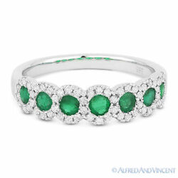 0.73ct Green Emerald And Diamond Anniversary Ring / Wedding Band In 14k White Gold
