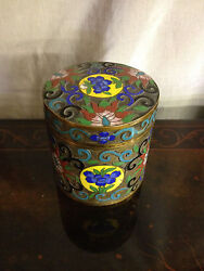 Vintage Antique Chinese Champleve Cloisonne Lidded Box / Canister