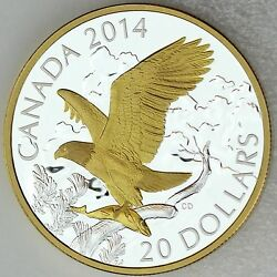 Canada 2014 20 Bald Eagle Perched With Fish 1 Oz Pure Silver Proof Gold Plating