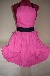 Brand New Vintage 50's Style Full Apron / Pinny - Pink With Black Ties