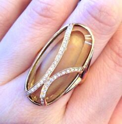 Contemporary Diamond And Quartz Cocktail Ring 18k Yellow Gold - Hm833r