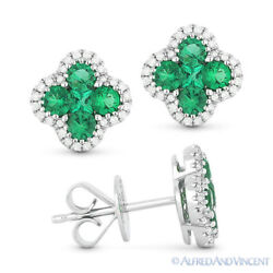 0.94 Ct Green Emerald Cluster And Diamond Pave 14k White Gold Flower Stud Earrings