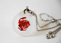 Round Pendant, Necklace, Real Rose, New, Handmade Jewelry
