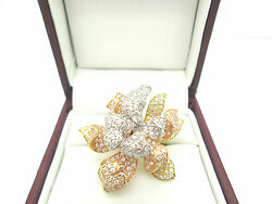 Modern 18k Solid Tricolor White/yellow/rose Gold Fancy Pave Flower Cocktail Ring