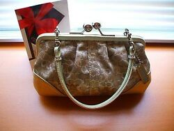 LTD COACH LUREX GOLD CHENILLE EVENING PARTY OCCASION FRAMED PURSE TOTE BAG NEW!