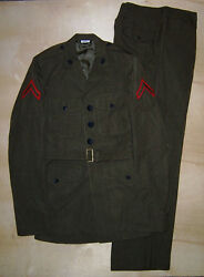 Usmc Alpha Uniform Jacket 40xl With Egas And Pfc Stripes And Trousers 34x34