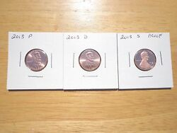 2013 P D S Lincoln Cent Penny Proof 3 Coin Set Lot Pds