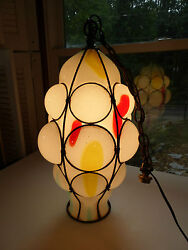 Murano Venetian Dino Martens Huge Caged Glass Mcm Hanging Lamp One Of A Kind