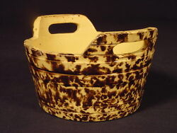 Rare 1800s Keeler With Rockingham Spatter Glaze Yellow Ware