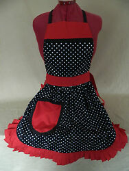 Retro Vintage 50s Style Full Apron / Pinny - Black And White Spot With Red Trim