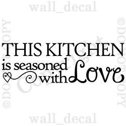 This Kitchen Is Seasoned With Love Wall Decal Vinyl Decor Words Sticker