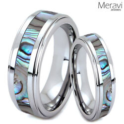 His Hers Tungsten Carbide Men Silver Wedding Band Promise Ring Abalone Shell SET $27.90