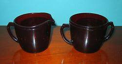 Real Red Glass Creamer And Sugar Bowl Rich Translucent Red Color