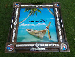Domino Tables By Art With Gorgeous Puerto Rico Tropical Beach Scene