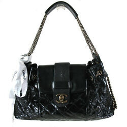 CHANEL BLACK LAMBSKIN LIMITED EDITION SHOULDER BAG WITH COMFORTABLE STRAP