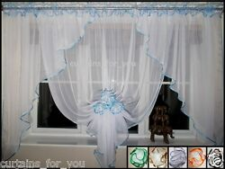 13 Colours Ready Made Voile Net Curtains With Flowers Uk Manufacturer Hand Made