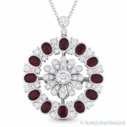 3.80 ct Oval Cut Red Ruby Diamond Pave 18k White Gold Pendant 14k Chain Necklace