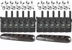 12 Motorola Cls1410 Two Way Radios With Headsets And Bank Chargers