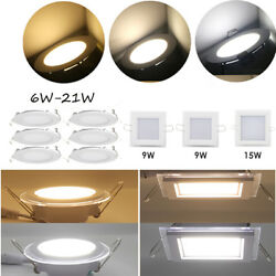 6W 9W 12W 15W 18W 21W  Dimmable LED Recessed Ceiling Panel Down Light Bulbs New