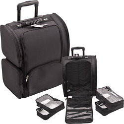 Rolling Soft Makeup Case 2-Wheel Travel Carry-on Tote Bag Luggage Organizer