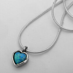 New Shablool Jewelry Handmade Blue Simulated Opal Necklace For Women