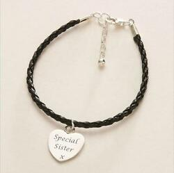 Personalised Bracelet for Woman or Teenager Leather with Engraved Heart Charm