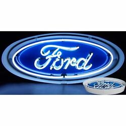 Ford Oval Neon Sign In Metal Can Hot Rod Racing Car Gameroon Light Mancave
