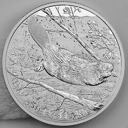 Canada 2014 50 Swimming Beaver - 5 Troy Oz. Pure Silver Uncirculated Proof Coin