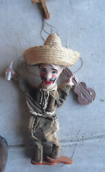 Vintage Composition Wood Cloth Marionette Mexican Man With Guitar Doll