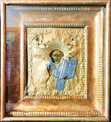 Antique Finely Painted 19c 84 Silver Russian Icon Of St.nicholas Kiot