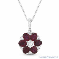 2.10ct Red Ruby & Diamond Flower Pendant in 18k White Gold w 14k Chain Necklace