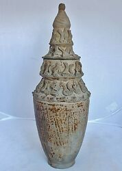 Song Dynasty Antique Chinese Pottery Figural Vase Or Temple Urn W/ Lid 14.25