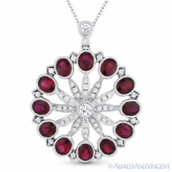 3.96 ct Oval Cut Red Ruby Diamond Pave 18k White Gold Pendant 14k Chain Necklace