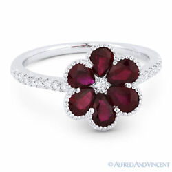 1.72 Ct Pear-shape Red Ruby And Diamond Pave 18k White Gold Right-hand Flower Ring