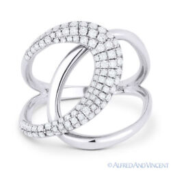 0.56 Ct Round Cut Diamond Right-hand Overlap Loop Fashion Ring In 14k White Gold