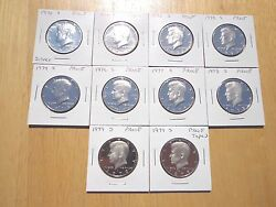 1970 1971 1972 - 1977 1978 1979 S Type 1 And 2 Proof Kennedy Half 10 Coin Set Lot