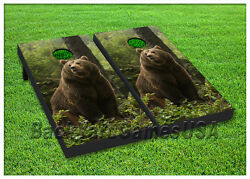 Vinyl Wraps Cornhole Boards Decals Brown Bear In Wild Bag Toss Game Stickers 38