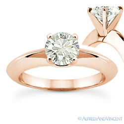 Round Cut Moissanite 14k Rose Gold Knife Edge 4-Prong Solitaire Engagement Ring