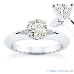 Round Cut Moissanite 14k White Gold Knife Edge 4-Prong Solitaire Engagement Ring