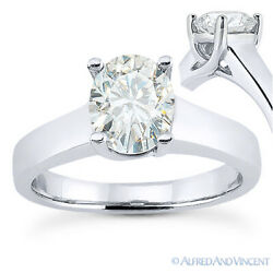 Oval Cut Moissanite 4-prong Trellis Solitaire Engagement Ring In 14k White Gold