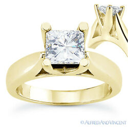 Square Brilliant Cut Moissanite 14k Yellow Gold 4prong Solitaire Engagement Ring