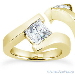 Square Cut Moissanite 14k Yellow Gold Solitaire Bypass-setting Engagement Ring