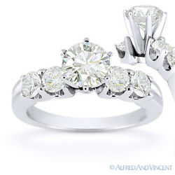 Round Cut Moissanite 5 Five-stone Open U-prong Engagement Ring In 14k White Gold