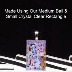 100 Qty - Small Rectangle Crystal Clear Glass Photo Pendant Magnet Jewelry Tiles